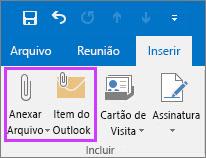Na guia Arquivo, clique em Anexar Arquivo ou Item de Email