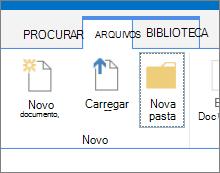 Na guia arquivos da faixa de opções com o botão nova pasta realçado