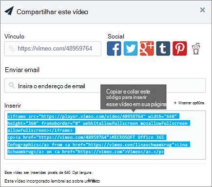 Exemplo do uso de incorporar código para inserir o conteúdo na página do SharePoint