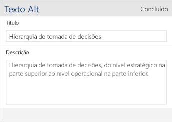 Captura de tela da caixa de diálogo Texto Alt no Word Mobile, contendo os campos Título e Descrição.