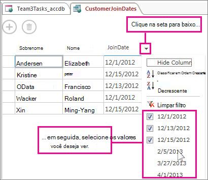 Filtrando uma coluna em uma consulta em um Access app.