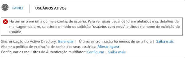 Declaração de erro de sincronização de diretório na parte superior da página Usuários ativos