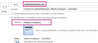 Convite para compartilhar email da caixa de correio externamente - Configuração da caixa Para e Detalhes