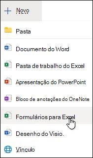 Inserir a opção Formulário do Excel no Excel Online