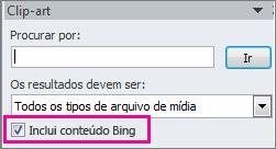 Incluir a caixa de seleção de conteúdo do Bing