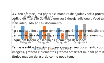 Um exemplo de um gráfico por trás de um bloco de texto