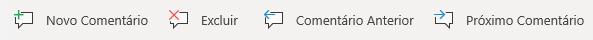 Os botões Comentários no Windows Mobile: Criar novo comentário, Excluir comentário atual, Ir para o comentário anterior e Ir para o próximo comentário