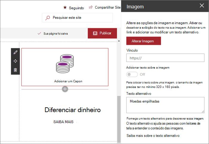 Exemplo de entrada de Web Part de imagem para o site de fornecimento moderno no SharePoint Online