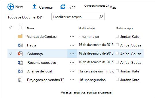 Caixa de diálogo da biblioteca de documentos do sharepoint com vários arquivos nele.