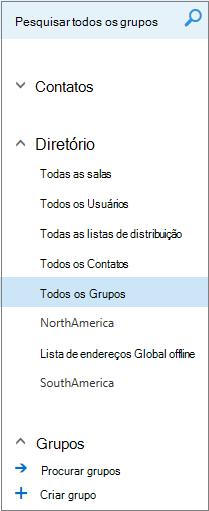 Pastas e diretórios que aparecem quando você navega em Grupos no Calendário do Outlook na Web para empresas