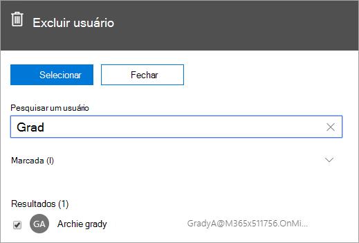 Captura de tela mostrando o comando para excluir um usuário na administração do Office 365.