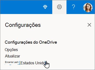Configurações do OneDrive para seleção de idioma