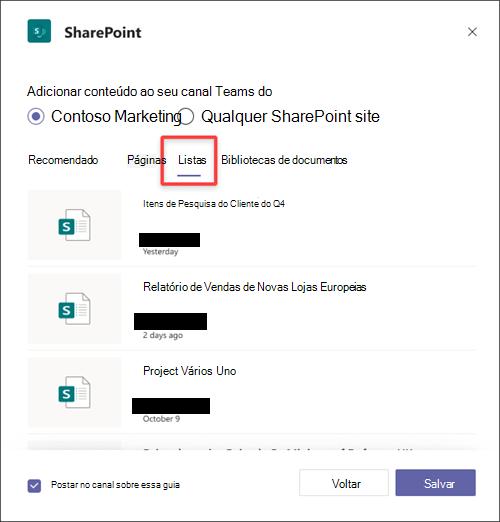 Adicione uma SharePoint como uma guia no Teams.