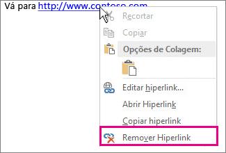 Menu do botão direito do mouse, Remover Hiperlink