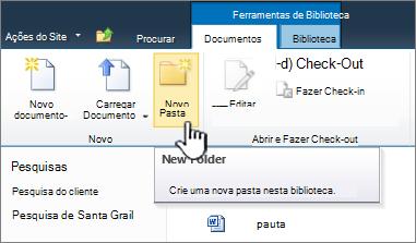 Faixa de opções do SharePoint 2010 documentos com nova pasta realçado