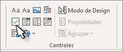 Controle da caixa de seleção no grupo controles da faixa de opções do desenvolvedor.