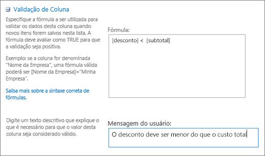 Caixa de diálogo de validação de coluna com campos preenchidos com dados de exemplo