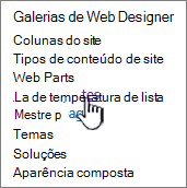 O link de modelos de lista na página de configurações do site
