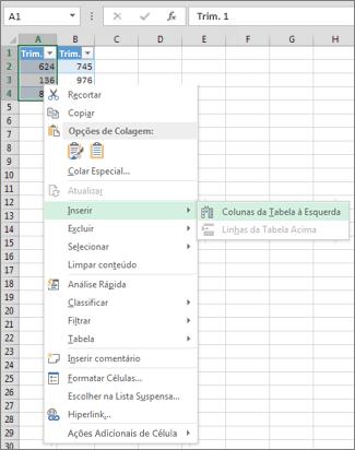 inserindo uma coluna de tabela