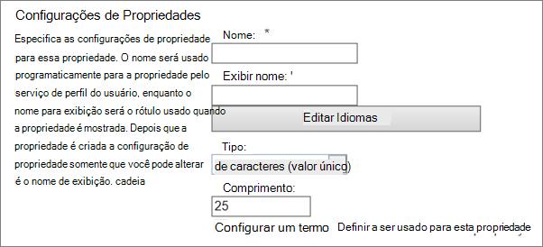 Configurações de propriedade em perfil de usuário do administrador
