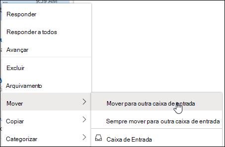Uma captura de tela mostra o menu de clique com o botão direito do mouse com as opções de mover para outra caixa de entrada e sempre mover para outra caixa de entrada.