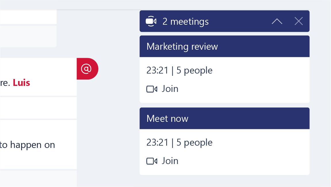 Esta captura de tela mostra notificações de reunião.