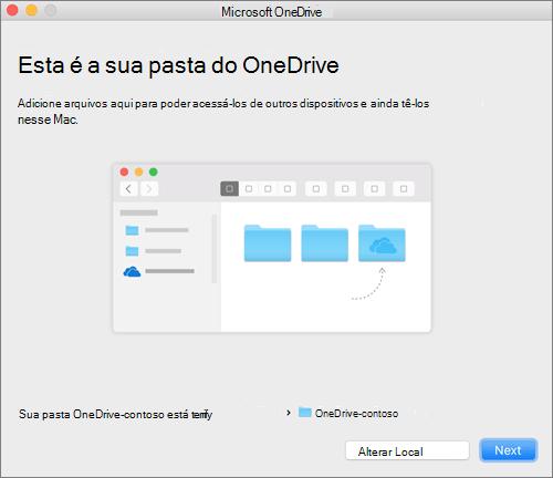 Captura de tela da tela Esta é sua pasta do OneDrive no assistente Bem-vindo ao OneDrive em um Mac