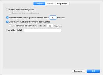 Configurações do servidor de conta IMAP do Outlook 2016 para Mac
