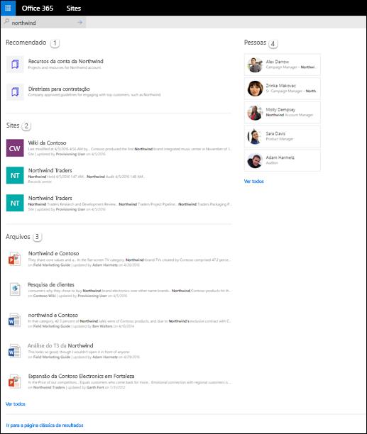 Resultados de pesquisa inicial do SharePoint