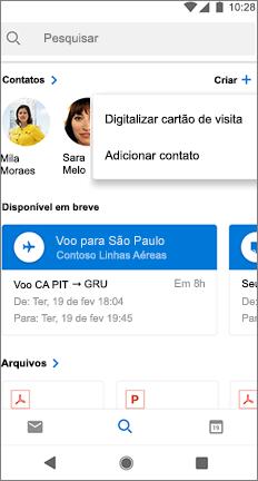 Tela de pesquisa com uma opção de digitalizar cartão de visita ao lado do nome de contato