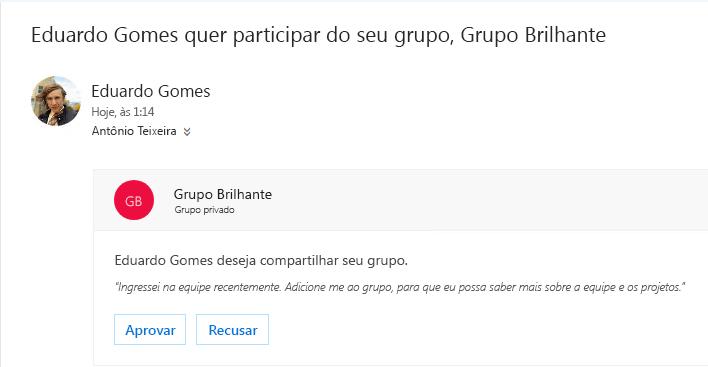 Um usuário pode descobrir um grupo e pode querer associá-lo. Se o grupo for privado, o proprietário receberá um email com a solicitação. O proprietário pode aprovar ou recusar a solicitação.