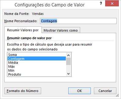 Caixa de diálogo Configurações do Campo de Valor