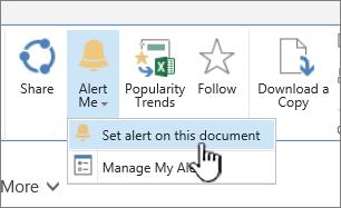Na guia arquivos, com definir alerta neste documento realçado