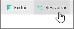 Botão Restaurar realçado do SharePoint Online
