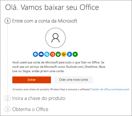 Mostra a página de diálogo para setup.office.com