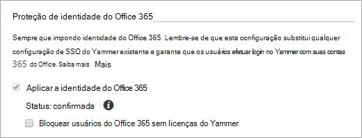 """Captura de tela da caixa de seleção """"Bloquear usuários do Office 365 sem licenças do Yammer"""" em """"Configurações de segurança do Yammer"""""""