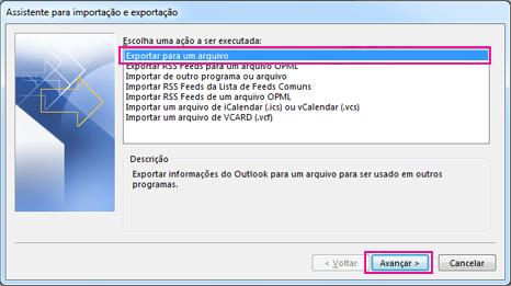 Assistente de Exportação do Outlook – Exportar para um arquivo