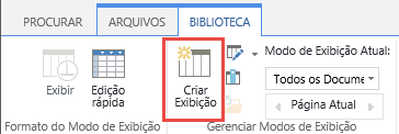 O botão de modo de exibição de criação de biblioteca do SharePoint na faixa de opções.