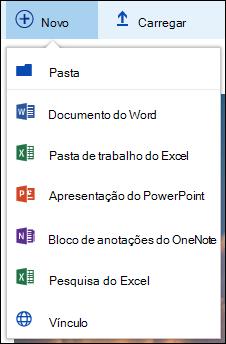 O Office 365 criar uma nova pasta ou um documento