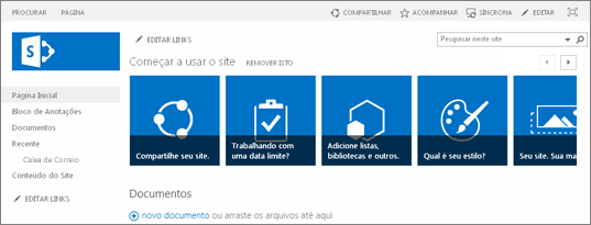 Captura de tela do site de equipe do SharePoint 2013