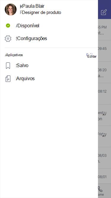 Tela de status e configurações