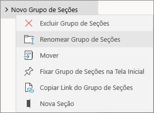 Renomear grupos de seção no aplicativo OneNote para Windows 10