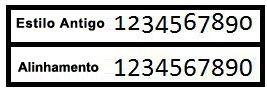 Exemplos de estilos de número Estilo Antigo e Alinhamento