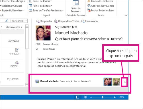 O Outlook Social Connector é minimizado por padrão