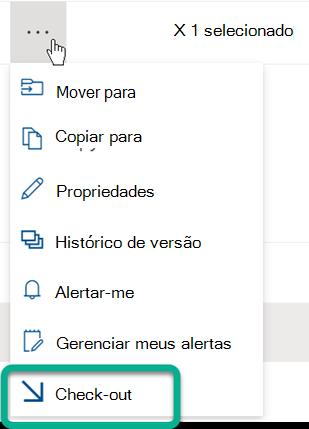 A opção Check-Out está no menu de três pontos localizado acima da lista de arquivos na biblioteca SharePoint.