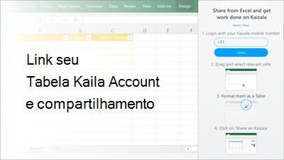 Captura de tela: Adicionar seu número de telefone Kaizala para fazer login