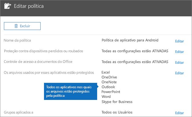 Mostra todos os aplicativos cujos arquivos esta política protege.