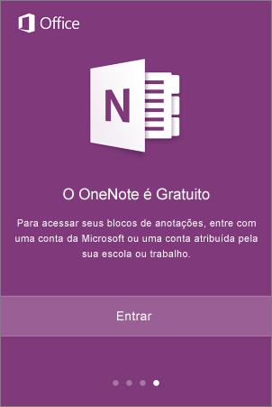 Tela de entrada do aplicativo OneNote