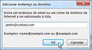 Caixa de diálogo Adicionar endereço ou domínio