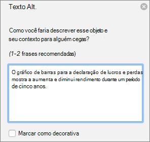 Caixa de diálogo de texto do Excel 365 escrever Alt para gráficos dinâmicos